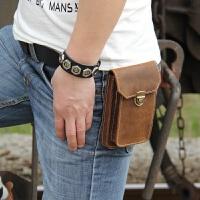 新款皮男士小腰包真皮竖款穿皮带挎包简约5.5-6寸手机包