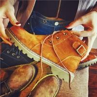 欧洲站秋季新款真皮短靴女复古休闲马丁靴女鞋英伦风搭扣平跟女靴
