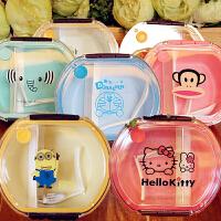 凯蒂猫便携便当盒透明圆形可爱卡通分格学生儿童宝宝保鲜水果饭盒