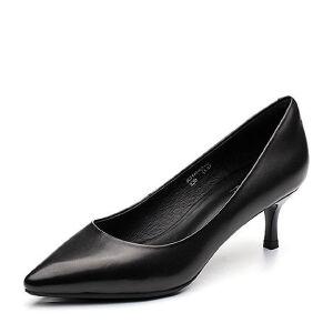 BASTO/百思图2018春季专柜同款羊皮简约通勤尖头细高跟女单鞋A6881AQ8