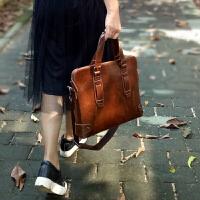 手提包女复古时尚皮包公文包文艺商务电脑包女士个性单肩斜挎包SN1505