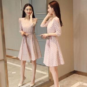 风轩衣度 连衣裙中长款蕾丝韩版修身显瘦系带2018年新款女士裙装 2806