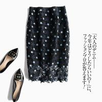 来了款减龄的裙子~te美!蕾丝镂空刺绣星星半身裙中长裙 图片色