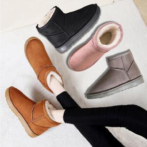 冬季雪地靴女2018新款经典平底短筒加厚加绒保暖棉靴学生棉鞋短靴3311NX