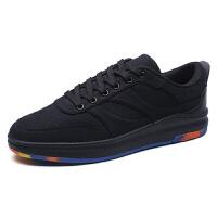冬季男士休闲鞋英伦小皮鞋雕花黑色内增高厚底学生板鞋潮鞋