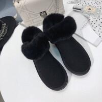 雪地靴女冬季短筒毛毛口加绒加厚防水保暖学生一脚蹬棉鞋