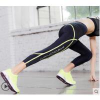 户外贴条运动长裤跑步健身裤速干透气女立体合身剪裁高弹力紧身