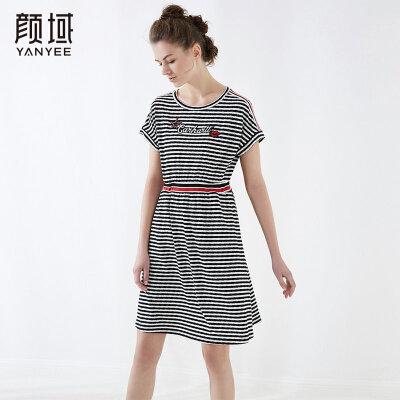 颜域新款撞色收腰条纹连衣裙宽松休闲短袖绣花裙2018夏季女装新品