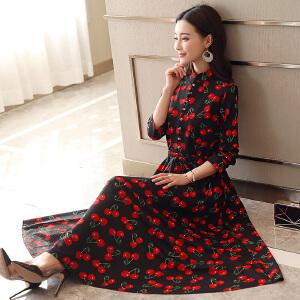 风轩衣度 中长款长袖低圆领潮流气质优雅韩版修身连衣裙2018年春季新款 8802