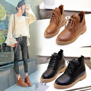 女式 秋冬新款马丁靴女学生英伦风内增高单靴百搭休闲女鞋机车靴子