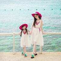 童装连衣裙儿童裙子2018新款夏季小女孩洋气休闲背心裙女童沙滩裙 白色 绣回