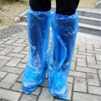 高筒长一次性鞋套防污防脏防滑雨天防雨鞋套鞋套漂流防尘防滑鞋套 蓝色独立包装简装2对价 均码