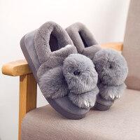 棉拖鞋女冬季室内防滑保暖家居毛毛拖卡通儿童包跟厚底毛绒居家拖