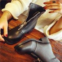 欧洲站冬季新款真皮短靴女前拉链马丁靴女鞋英伦风学生粗跟女靴子