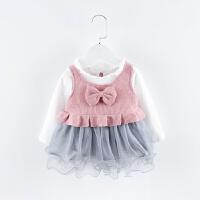 女宝宝春秋公主裙0-1-2岁婴儿衣服女童马甲+网纱裙两件套yly, 粉色 马甲+裙子