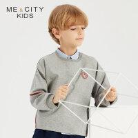 【1件2.5折到手价:59】米喜迪mecity童装秋装新款男童针织卫衣