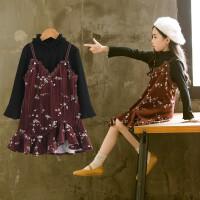 女童连衣裙秋装韩版洋气儿童裙子时尚碎花吊带童装套裙潮