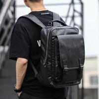 男士背包 PU皮质双肩包男时尚潮流大学生学生书包电脑旅行包
