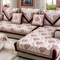 欧式布艺沙发垫四季通用坐垫子客厅防滑皮全包�f能套罩巾