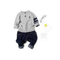童装儿童宝宝套头衫纯棉春秋小童针织衫男童套头立领刺绣小熊毛衣 全织时代 儿童-男童-毛衣