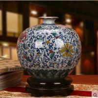 景德镇陶瓷器 古典手绘五彩裂纹釉青花瓷花卉石榴花瓶 中式摆件