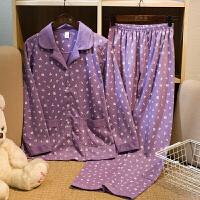春秋季中老年睡衣女长袖 妈妈老人婆婆款加肥加大码家居服套装1