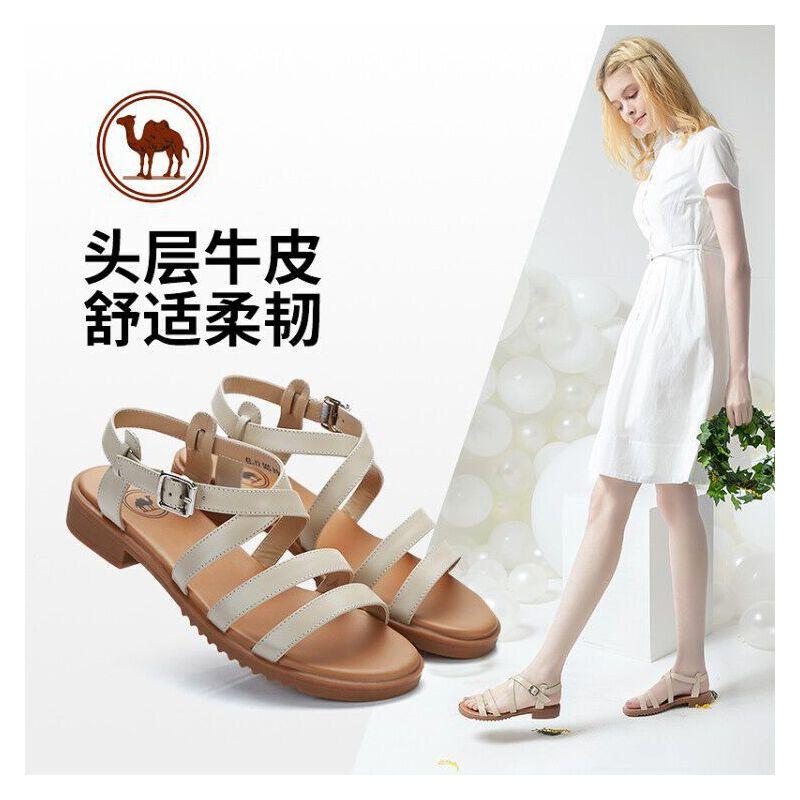 骆驼牌女鞋2018夏季新款真皮女士凉鞋一字扣带露趾粗跟高跟凉鞋女