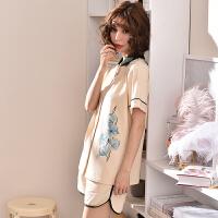 孕妇哺乳睡衣套装宽松喂奶家居服 夏季月子服产后薄款棉开衫短袖