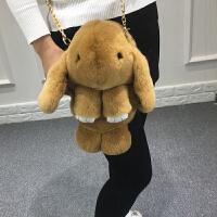 獭兔毛皮草小兔子背包超萌毛绒兔双肩包装死包包兔斜挎女包卡通包