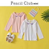 【3折价:20.7】迷你铅笔童装2020春装新款女童长袖T恤女小童上衣儿童小翻领上衣