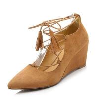 WARORWAR法国YG01-A6062019新品四季欧美羊反绒羊�S坡跟高跟鞋女鞋潮流时尚潮鞋百搭潮牌玛丽珍鞋女鞋潮流