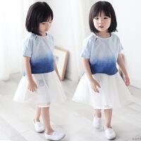 女童中国风夏装儿童汉服复古宝宝渐变蓝纯棉圆领衬衫盘扣上衣唐装