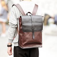 2018韩版新款男女士背包 潮流撞色翻盖抽带双肩包 休闲复古旅行包