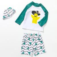 儿童泳衣男童分体防晒男孩宝宝婴儿速干冲浪游泳衣保暖温泉泳装 仙人掌