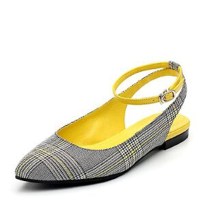 Teenmix/天美意2018春专柜同款纺织品/牛皮革复古格纹小方跟后空女凉鞋CB535AH8