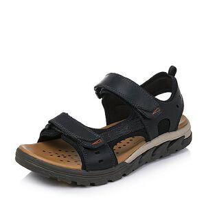 Teenmix/天美意2018夏季牛皮革时尚简约便捷魔术贴舒适男凉鞋17001BL8