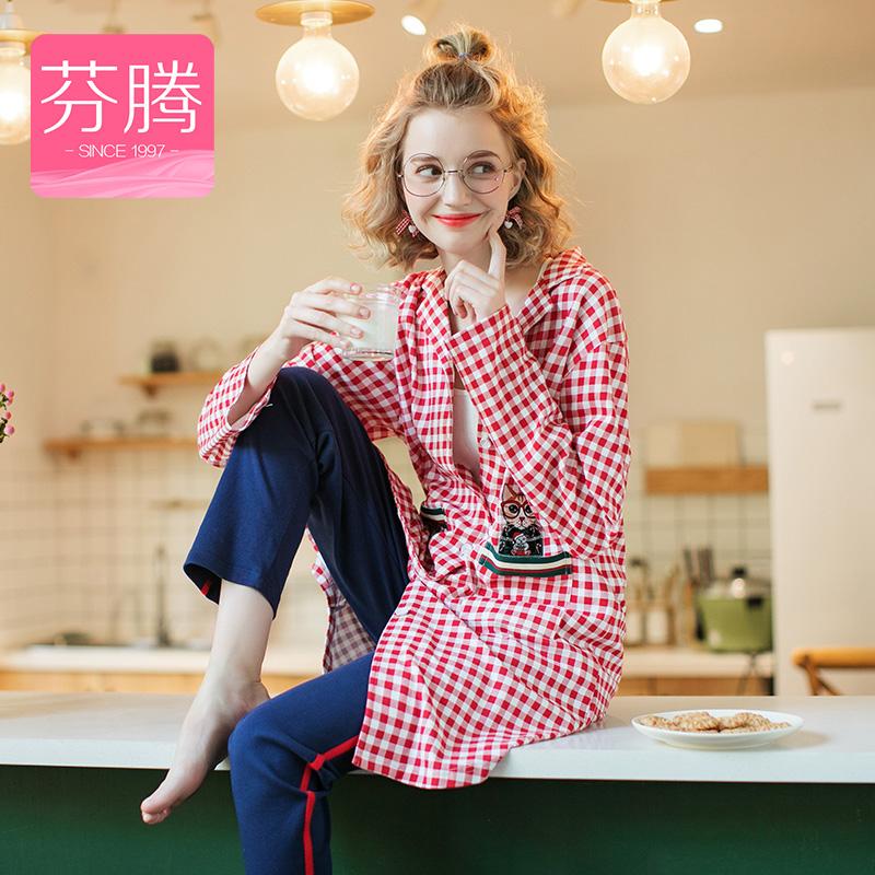 芬腾 睡衣女士18年秋季新品纯棉休闲格子卡通印花长款开衫长袖家居服套装女