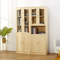 实木书柜带玻璃门书柜自由组合文件柜松木书架书橱放玩具柜家用柜