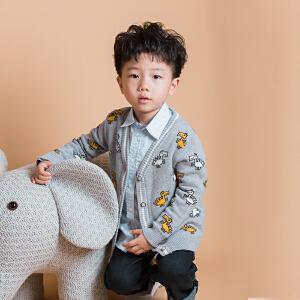 儿童毛衣男女童毛线衣宝宝v领开衫针织衫韩版撞色小恐龙外套