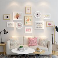 北欧实木照片墙装饰冲印相片墙客厅创意个性相框挂墙组合连体挂