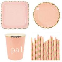 生日派对装饰用品 婚庆用品金色纸杯纸方盘圆盘纸吸管纸巾套装