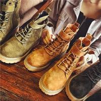 欧洲站秋季新款真皮短靴女侧拉链铆钉马丁靴女鞋皮带扣英伦风女靴