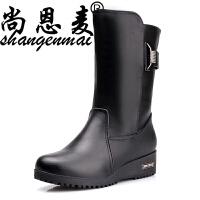 春季靴子女坡跟真皮中筒靴中老年加绒保暖棉靴妈妈棉鞋厚底女春靴 黑色