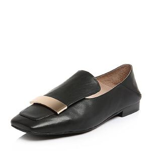 BASTO/百思图2018春季专柜同款牛皮金属装饰方头女单鞋AA401AQ8