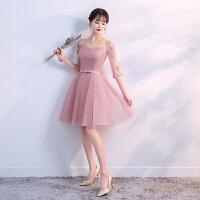 伴娘礼服短款2018新款韩版春季伴娘服姐妹裙中长款修身显瘦晚礼服