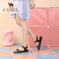 骆驼牌女鞋 2018夏季新款 简约真皮坡跟凉鞋舒适厚底平底鞋妈妈鞋