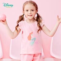 【99元3件】迪士尼Disney童装 女童美人鱼印花短袖夏季新品女宝宝汗衫小飞袖T恤192S1117