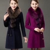 气质妈妈装秋冬中长款加厚呢子大衣40岁50中年女春装宽松毛呢外套