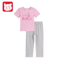 【99元3件】小猪班纳童装宝宝睡衣2018夏装新款女孩儿童衣服女小童家居服套装