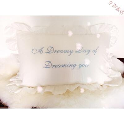 绣花枕套单人浪漫褶皱花边枕套少女系荷叶蕾丝花边刺绣  48cmX74cm